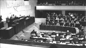 PM Levi Eshkol speaking at the first Knesset meeting in the new Plenum, August 31, 1966, source: Wikipedia