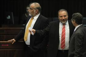 Foreign Minister and Chairman of Yisrael Beiteinu Avigdor Lieberman and his party member David Rotem Chairman of the Knesset Constitution, Law and Justice Committee at the Knesset session, 20.07.2011. Photograph by: Miriam Alster, Flash 90.jpg