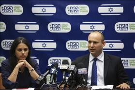 MK Ayelet Shaked from the Jewish Home Party with party chair Naftali Bennett