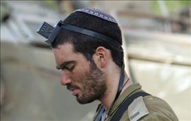 IDF soldier wearing phylacteries, courtesy: Wikipedia