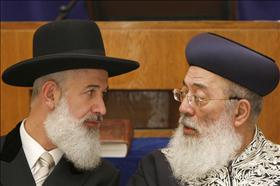 Chief Rabbis, Shlomo Amar and Yona Metzger at the Yeshurun ​​synagogue in Jerusalem. 18.07.2009. Photography: Abir Sultan, Flash 90